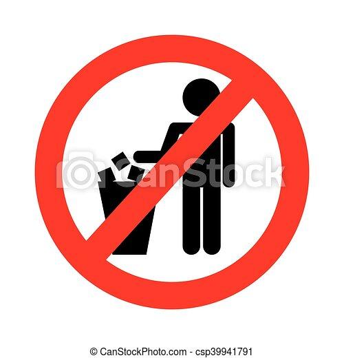 No Littering Prohibition Sign Vector Illustration Design