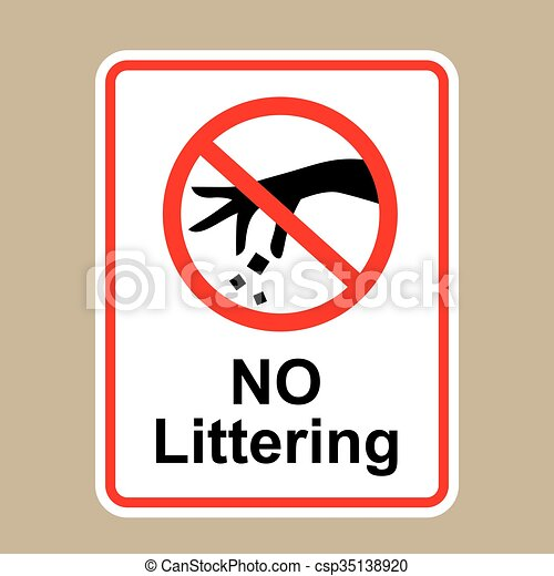 No Littering Sign Hand Gesture Red Black