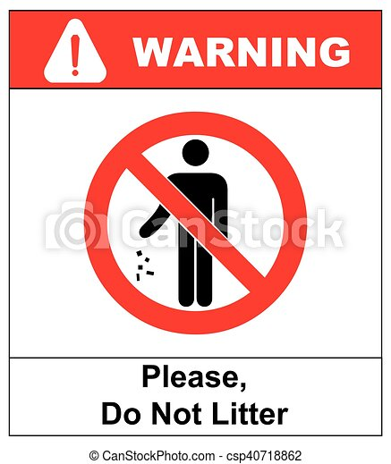 No Littering Sign Vector Illustration Do Not Litter Prohibition