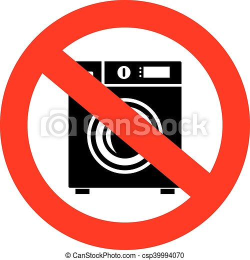 No Machine Wash Sign Isolated On White Background