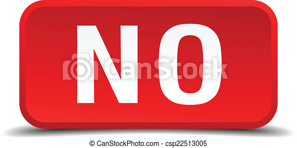 No red 3d square button isolated on white - csp22513005