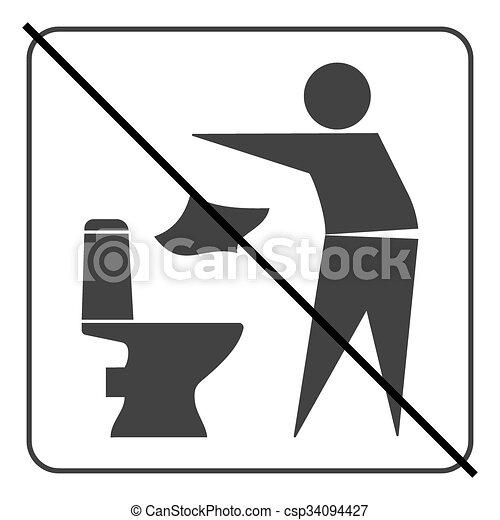 No tires basura en el icono del baño 3 - csp34094427