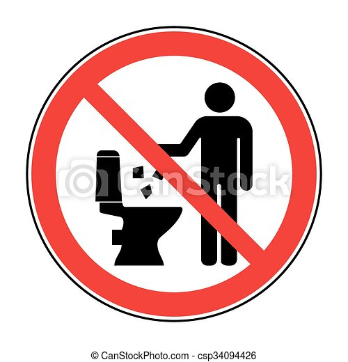 No tires basura en el ícono del baño 2 - csp34094426