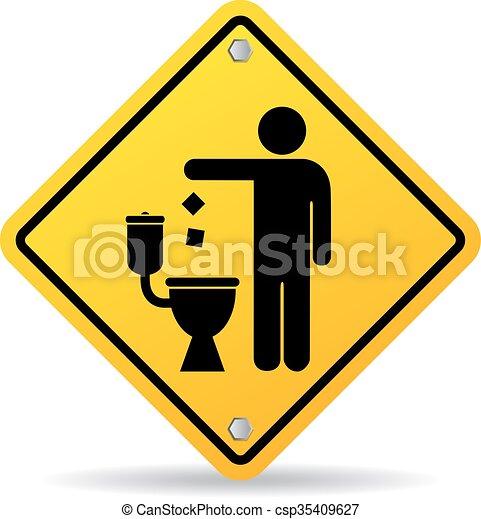 No tires basura en el ícono del inodoro - csp35409627