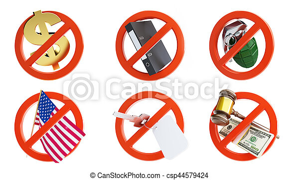 no signs for different prohibited activities set on a white background 3D illustration - csp44579424