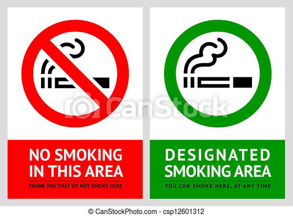No smoking and Smoking area labels - Set 9 - csp12601312