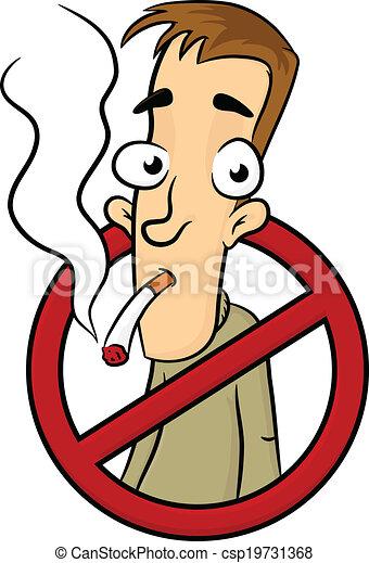 No Smoking No Smoking Sign With Man Vector Cartoon Illustration