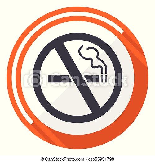 No smoking flat design vector web icon. Round orange internet button isolated on white background. - csp55951798