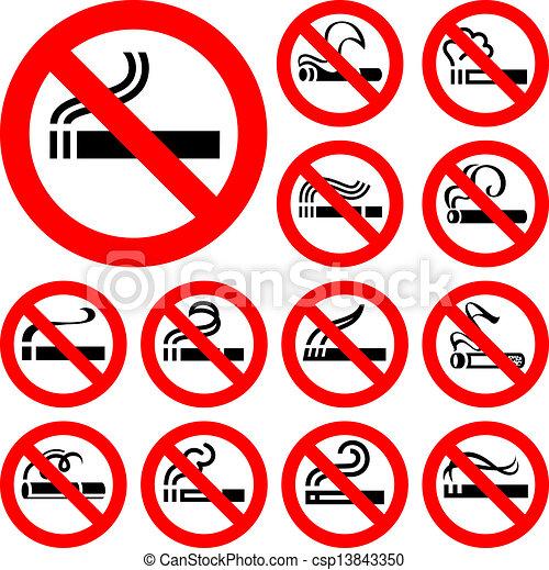 No smoking - red symbols - csp13843350
