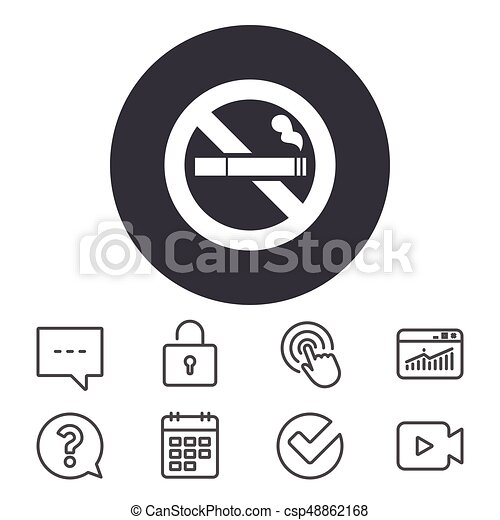 no smoking sign icon cigarette symbol calendar locker and speech bubble line signs video camera statistics and question can stock photo