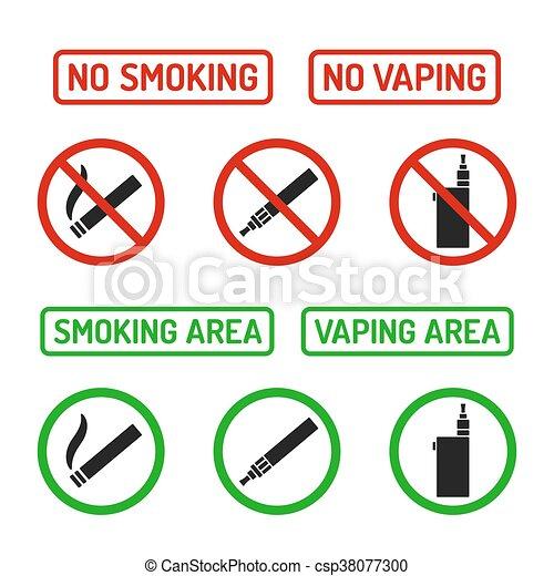 No smoking signs set. Set of no smoking and smoking area symbols ...