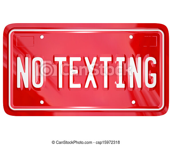 No Texting License Plate Warning Danger Text Message - csp15972318