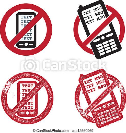 No Texting Vector Graphics - csp12560969