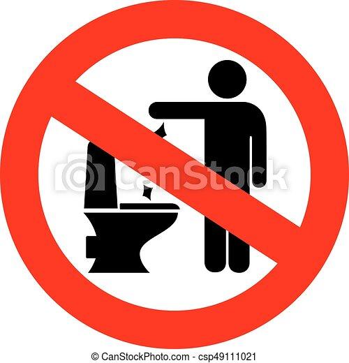 No Toilet Littering Sign No Toilet Littering Vector Sign