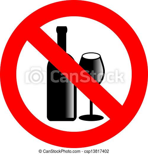 no, vector, alcohol, señal - csp13817402
