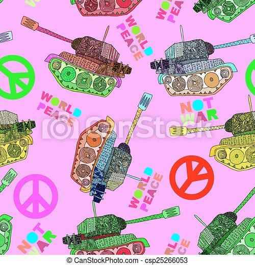 No war. Tank seamless pattern. - csp25266053