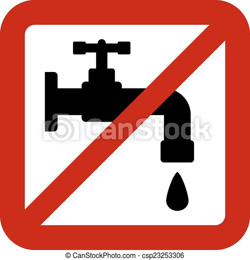 No Water Tap Sign On White Background Vector Illustration