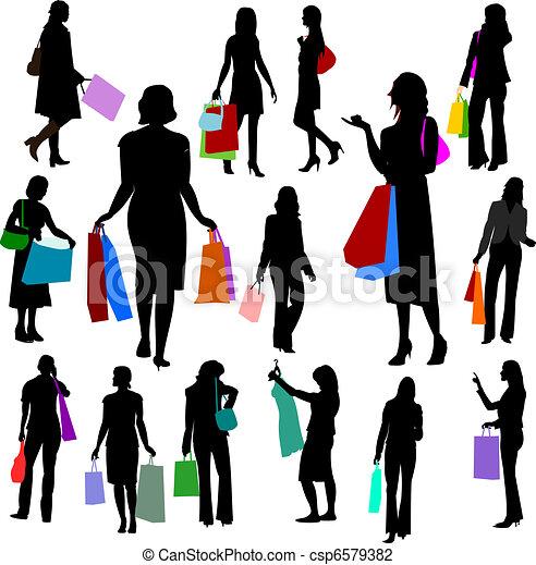 Gente, mujeres comprando el número dos. - csp6579382