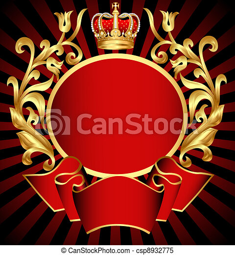 noble background with gold(en) pattern and crown - csp8932775