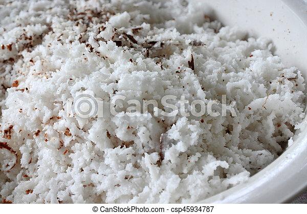 noce di cocco, fiocchi, fondo - csp45934787