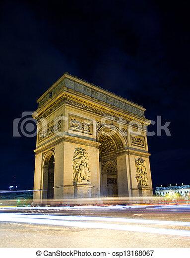 noche, arco, parís, triunfo, francia - csp13168067