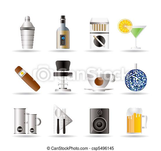 Club nocturno, bar y bebe iconos - csp5496145