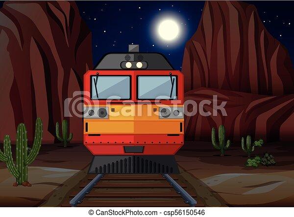 Entrenar en el ferrocarril de noche - csp56150546
