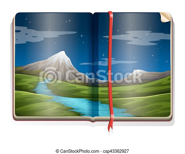 Libro con escena de la naturaleza por la noche - csp43362927