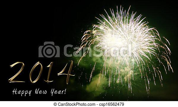 Feliz año nuevo 2014 - fuegos artificiales por la noche - csp16562479