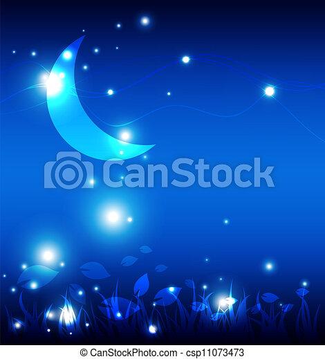 noche, paisaje, luna - csp11073473