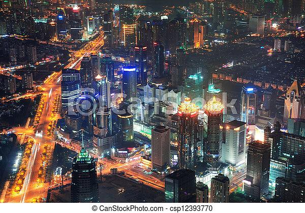 noche, shanghai, vista aérea - csp12393770