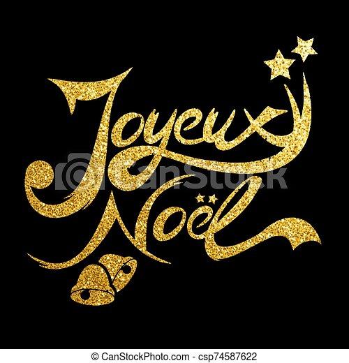 noel, tarjeta, resplandor, dorado, joyeux - csp74587622