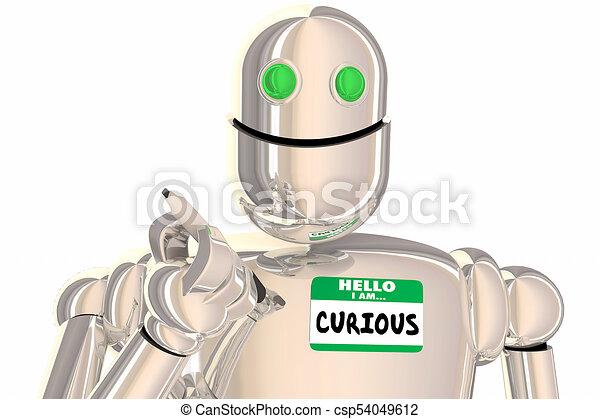 noem etiket, robot, illustratie, vragende vragen, nieuwsgierig, hallo, 3d - csp54049612