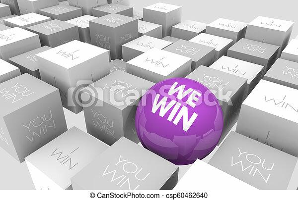 noi, cubi, lavorativo, vincere, insieme, sfera, lavoro squadra, illustrazione, lei, 3d - csp60462640