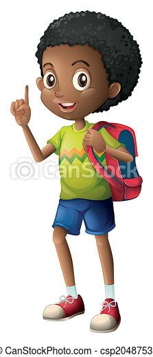 Ecolier noir, écolier. blanc, arrière-plan noir, illustration, écolier.