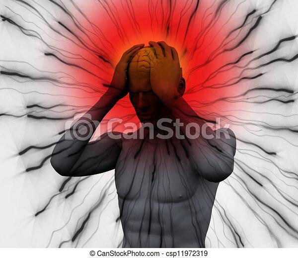 noir, avoir, numérique, mal tête, corps - csp11972319
