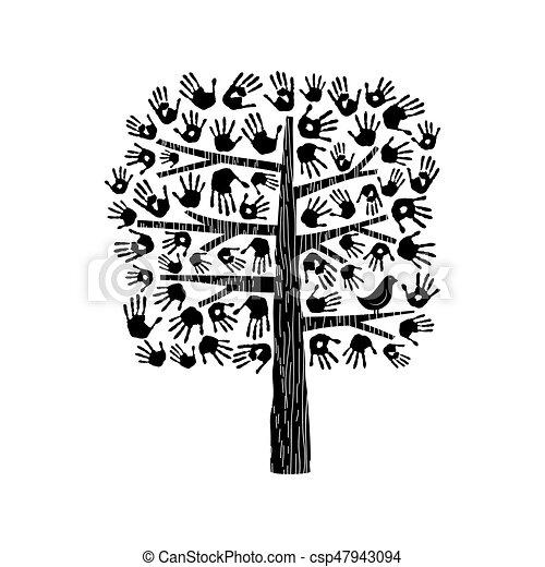 Noir Blanc Arbre Illustration Main
