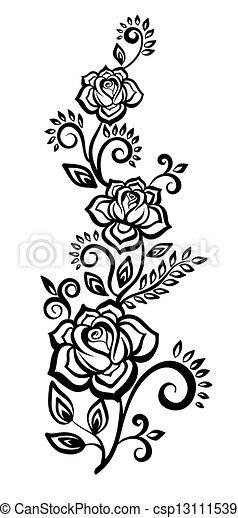 noir blanc, fleurs, leaves. - csp13111539