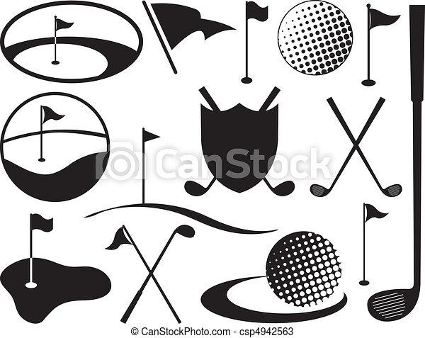 noir, blanc, golf, icônes - csp4942563