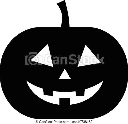 Noir, blanc, halloween, isolé, citrouille.