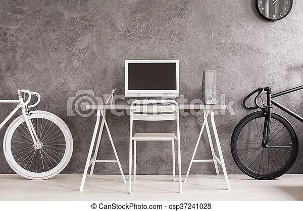 Noir blanc vélo ou roue droit vélo bureau mur moderne