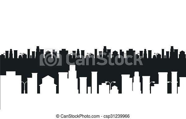 Город рисунок черно белый