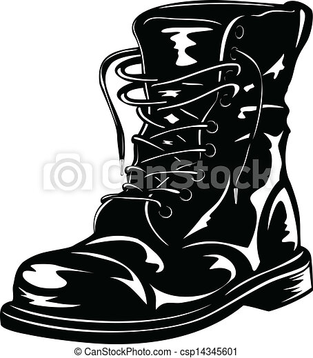 Bottes De L'armée Noire De Dessin Animé De Vecteur