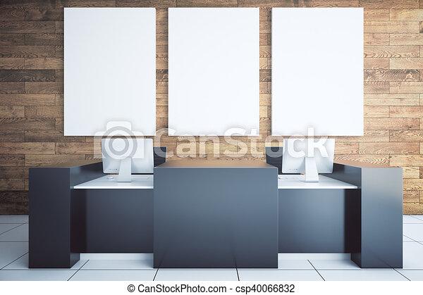Noir bureau réception haut salle bois panneau affichage
