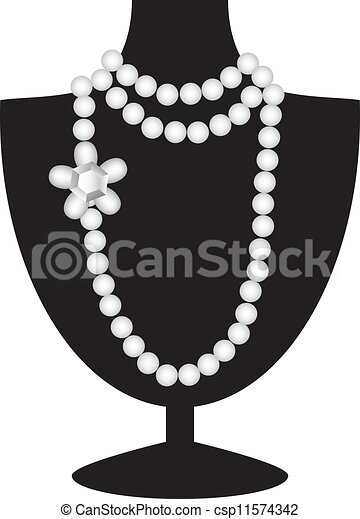 noir, collier, mannequin, perle - csp11574342