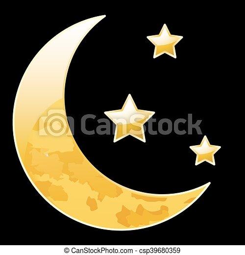 Noir Croissant Etoiles Lune Vecteur Art Illustration Lune