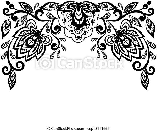 noir, dentelle, fleurs blanches - csp13111558
