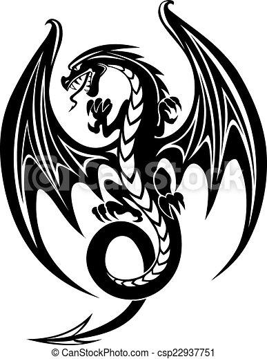 Noir Dragon Danger Isol 233 Illustration Dragon Arri 232 Re