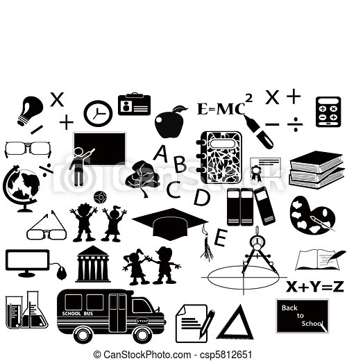 noir, ensemble, education, icône - csp5812651