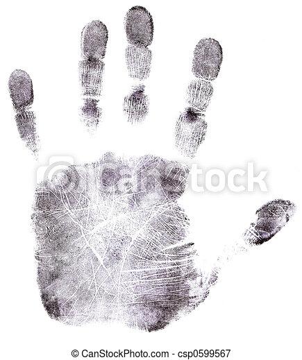 noir, entiers, main, empreinte doigt - csp0599567